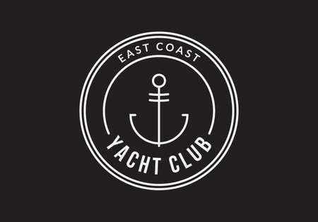 Nautical badge design with anchor. Vector illustration. Ilustração