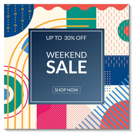 Weekend Sale banner template. Discount promo poster design with abstract geometric background for fashion, price off coupon, flyer, website, newsletter, social media post. Vector illustration. Ilustração