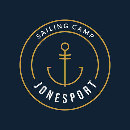 Nautical label with anchor. Marine or sea emblem. Sailing camp sign. Vector illustration. 向量圖像