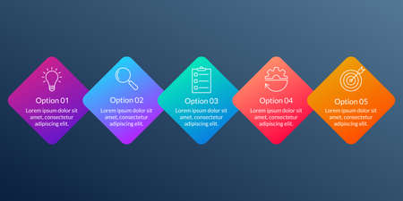 5 steps, option or levels info graphic design with five business icons. Modern elements for presentation, workflow layout, timeline infographics. Vector illustration.