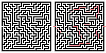 Labyrinth maze design. Find the way puzzle game with entrance and exit. Vector illustration. 向量圖像