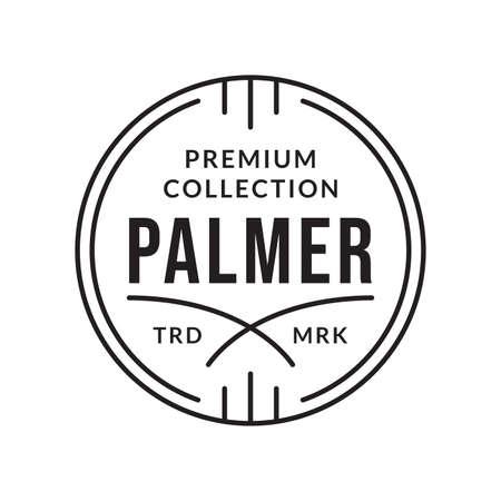 Outline stamp design. Premium circle emblem for business and fashion typography. Vector illustration.