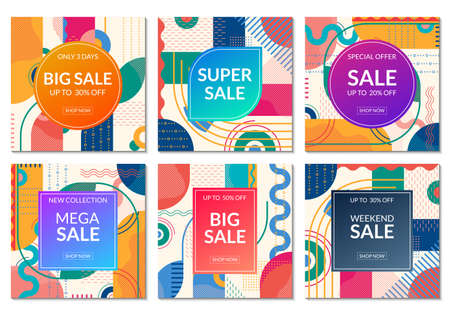 Sale banner set template. Discount promo posters design with abstract geometric background for fashion, price off coupon, flyer, website, newsletter, social media post. Vector illustration.