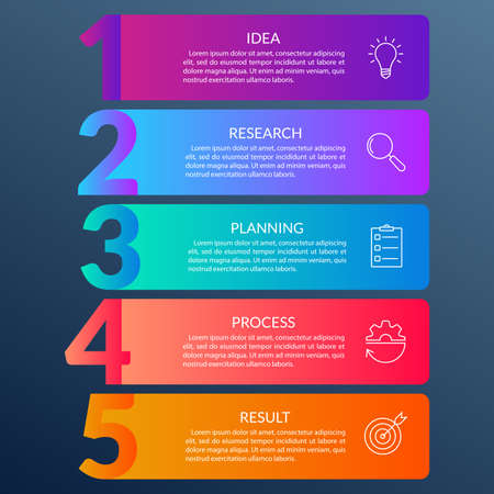 5 steps info graphic with business icons and copy space. Infographics template with outline numbers. Five parts or options for menu and workflow layout design. Vector illustration. Vector Illustration