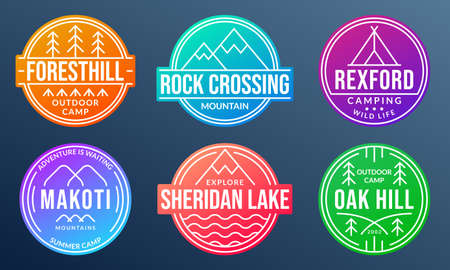 Camp badge set. Camping emblems with forest, mountain, lake or river and tourist tent. Colorful Outdoor adventure logos. Trekking or hiking and climbing design elements. Vector illustration.