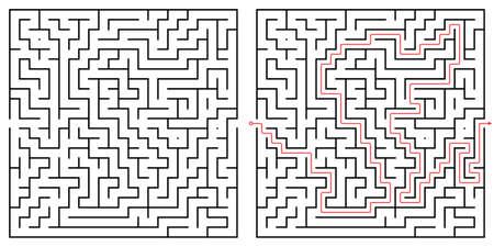 Labyrinth maze design. Find the way puzzle game with entrance and exit. Vector illustration. Ilustração