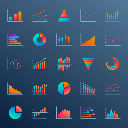 Chart, graph and diagram icon set. Business report, statistics, data analysis, finance market design elements. Ui, app and website graphic. Vector illustration.