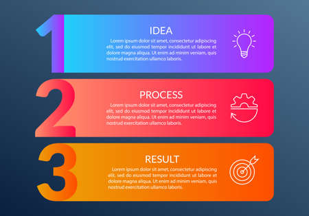 3 steps info graphic with business icons and copy space. Infographics template with outline numbers. Three parts or options for menu and workflow layout design. Vector illustration. 向量圖像