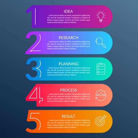 5 steps info graphic with business icons and copy space. Infographics template with outline numbers. Five parts or options for menu and workflow layout design. Vector illustration.