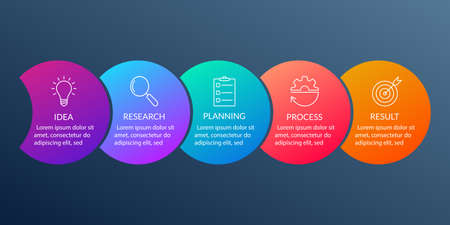 Info graphic for business presentation with 5 steps or option. Timeline infographics template with colorful circles and outline icons. Five parts for workflow layout design. Vector illustration. Ilustração