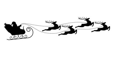 Santa on sleigh with reindeers. Flying Christmas sled or sledge silhouette with Santa Claus and deers. Xmas holiday decoration. Vector illustration. Ilustração