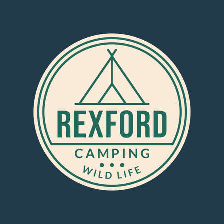 Camp logo. Camping badge with tourist tent or teepee. Outdoor emblems. Vector illustration.