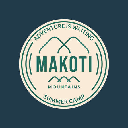 Summer camp logo or badge with mountains line silhouette. Outdoor and adventure graphic. Camping icon. Vector illustration.