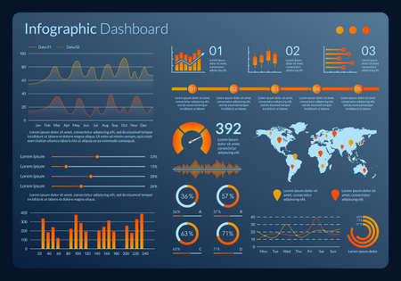 Infographic dashboard interface. Graphic design with data, graph, chart and diagram. Modern Ui and UX template for web, admin panel. Vector illustration. Ilustração