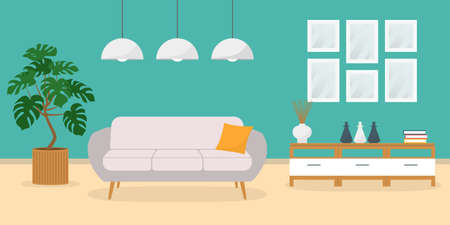 Living room interior with sofa and modern furniture in flat design. Home or house inside. Vector illustration.