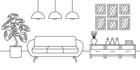 Living room interior line sketch. Outline design of home or house inside with sofa and modern furniture. Vector illustration.