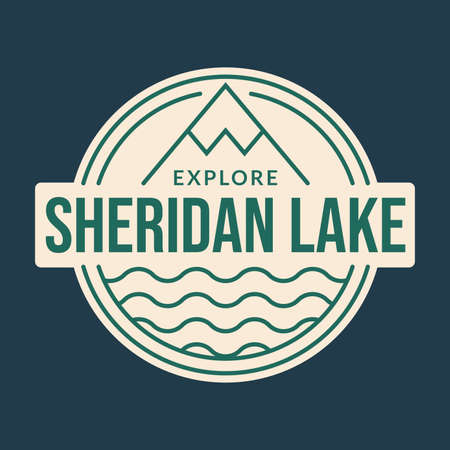 Mountain logo or badge with lake or river. Outdoor and adventure graphic. Camp icon. Vector illustration.