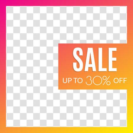 Sale banner for social media post, web ad, mobile app design template. Price off discount background. Vector illustration.