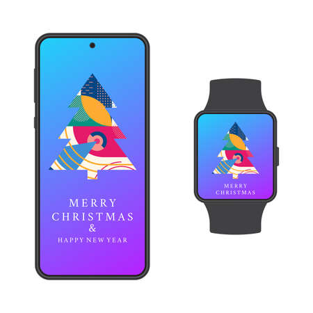Merry Christmas and Happy New year banner set with abstract Xmas tree with geometric texture on the smartphone and smart watch screen. Social media post, stories, greeting card design. Vector.