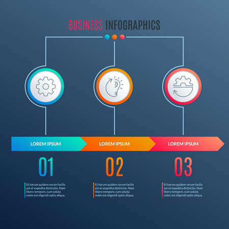 3 steps info graphic with arrow. Business process layout, presentation banner, timeline infographic desin template. Vector illustration. 向量圖像