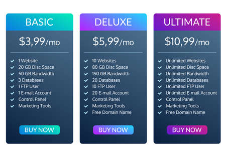 Price plan template. Pricing table for web hosting. Vector illustration.