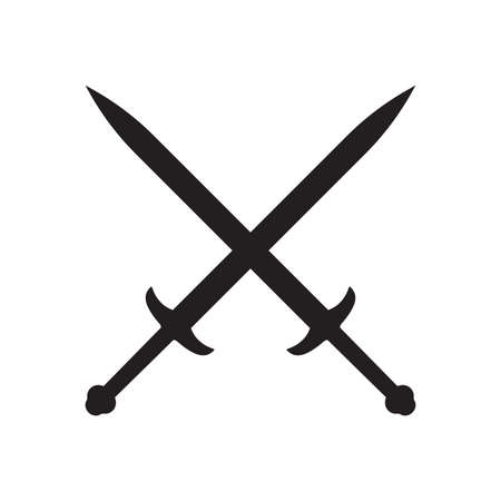 Cross swords icon. Medieval knight weapon. Vector illustration.