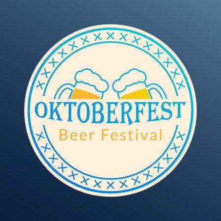 Oktoberfest logo, badge or label set. Beer festival poster or banner design elements. German fest signs. Stamp or seal collection with beer mugs. Vector illustration.