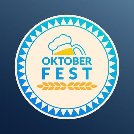 Oktoberfest logo, badge or label set. Beer festival poster or banner design elements. German fest signs. Stamp or seal collection with beer mug. Vector illustration. 向量圖像