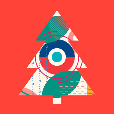 Christmas tree with abstract geometric background. Modern Xmas design template for greeting card. Vector illustration. 向量圖像