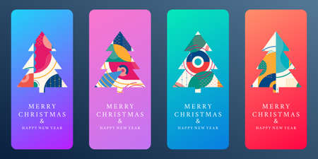 Christmas trees with abstract geometric background for social media post or stories. Modern Xmas tree set for greeting card and holiday banner design. Vector illustration.
