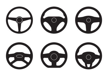 Steering wheel icon set. Car and driver  templates. Vector illustration.