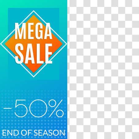 Mega Sale banner. Social media post or web ads design template. Price off discount background. Vector illustration.