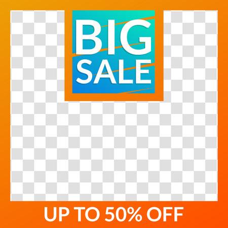 Big Sale banner for social media post, web ad, mobile app design template. Price off discount background. Vector illustration.