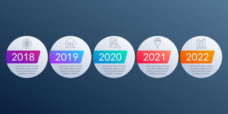 Timeline Infographic template with 5 steps, levels or options. Business design elements with icons for infographics, information brochure, presentation, banner, workflow layout. Vector illustration.