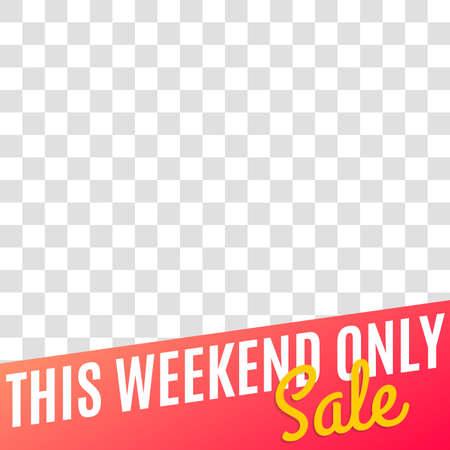 Sale banner for social media post, web ad, mobile app design template. Weekend price off discount background. Vector illustration.