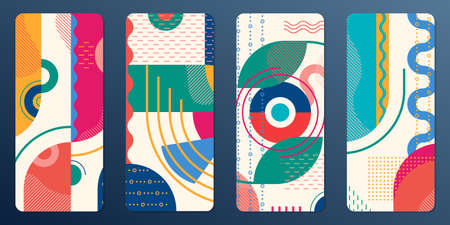 Stories and social media frame template with abstract geometric background. Mobile phone screen banner. Vector illustration.