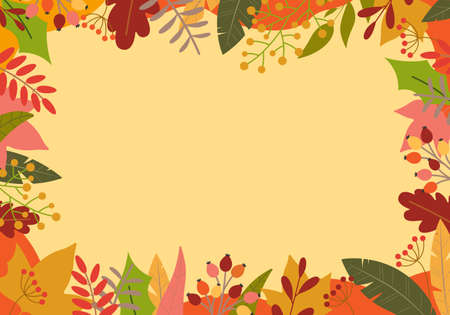 Autumn background with colorful leaves. Fall season banner or border with foliage. Template for thanksgiving poster, sale or promotion card frame. Vector illustration.