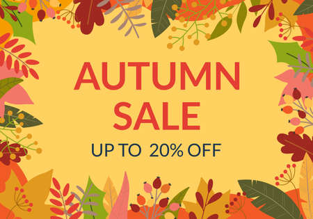 Autumn sale banner or poster. Fall season background design with leaves frame or border. Price off template for discount card, fashion, promo or promotion, flyer with colorful foliage. Vector. 向量圖像