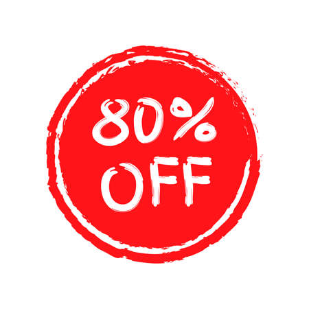 Sale sticker or icon. 80 percent price off discount label or tag with grunge texture. Hand drawn promo badge for advertising design. Vector illustration. 向量圖像