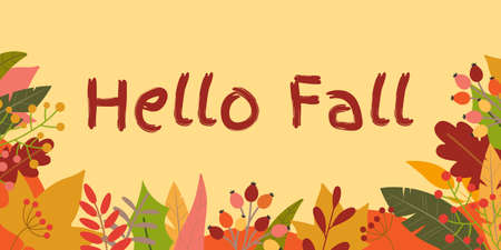 Hello Fall banner. Autumn season background with September, October and November leaves. Vector illustration. 向量圖像