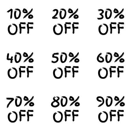 Sale sticker or icon set. 10,20,30,40,50,60,70,80,90 percent price off discount label or tag. Hand drawn promo badge for advertising design. Vector illustration. 向量圖像