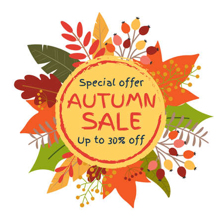 Autumn sale banner with leaves. Circle frame for Fall discount. Price off badge or tag with Sptember or October foliage. Vector illustration.