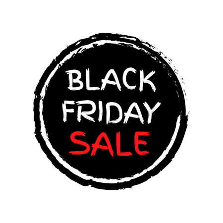 Black Friday Sale sticker or icon. Price off discount circle label or tag with grunge texture. Hand drawn promo badge for advertising design. Vector illustration. 向量圖像