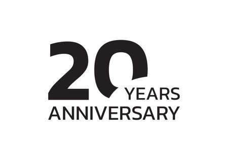 20th anniversary logo. 20 years celebrating icon or badge. Vector illustration.