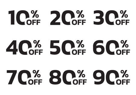 Price off label or badge set. Sale icons or tags with 10, 20, 30, 40, 50, 60, 70, 80, 90 percent discount. Vector illustration.