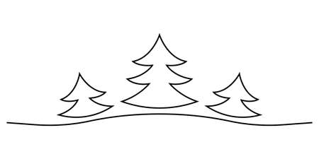 Fir trees outline icon. Spruce tree for Christmas card design. Xmas decoration element. Vector illustration.