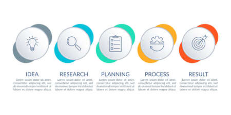 5 steps infographic. Timeline info graphic design with five circles. Business process layout with outline icons. Vector illustration. 向量圖像