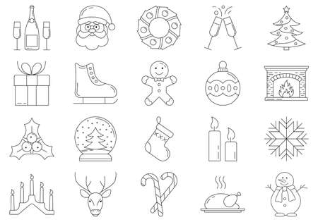 Christmas outline icon set. Xmas and Winter holidays symbols. Vector illustration.