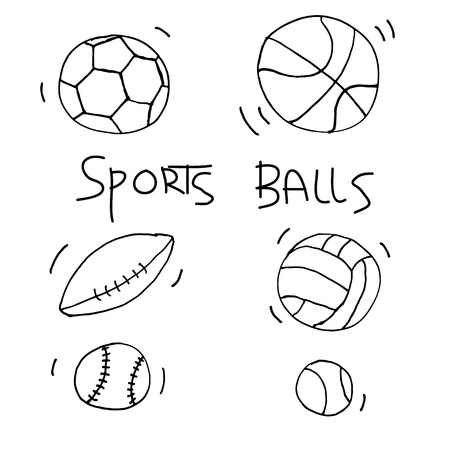 Sports balls. Vector pattern in doodle style.
