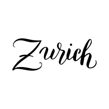 Zurich calligraphy text icon. Travel agency typography banner. Souvenir, magnet, t-shirt, poster design. Vector eps 10.